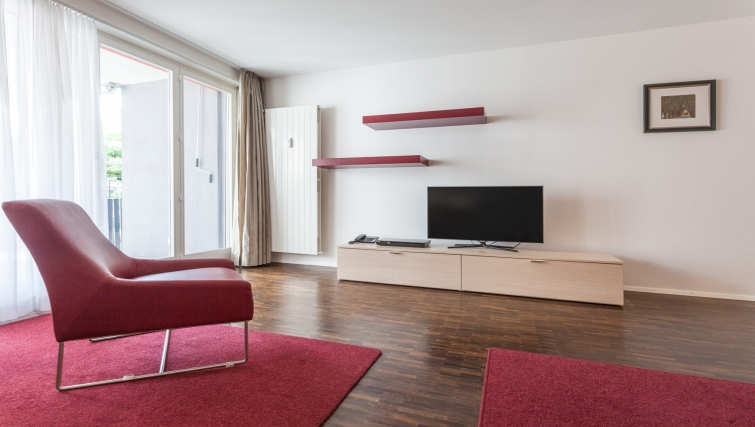 Spacious living area at Florastrasse 30 Apartments