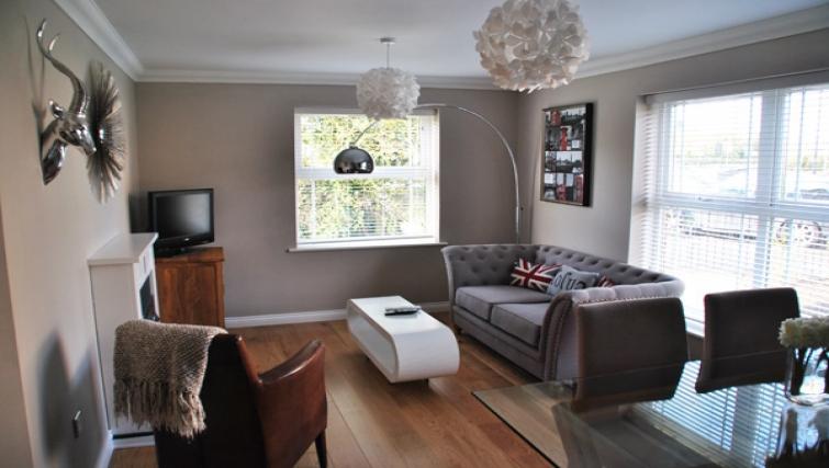 Living area in Clarendon Court Apartment