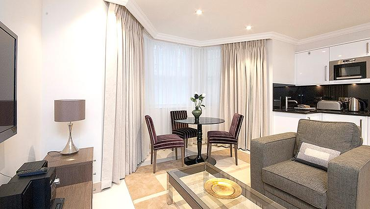 Bright dining area in Claverley Court Apartments
