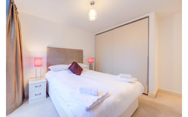 Bright bedroom at Finzels Reach Apartments