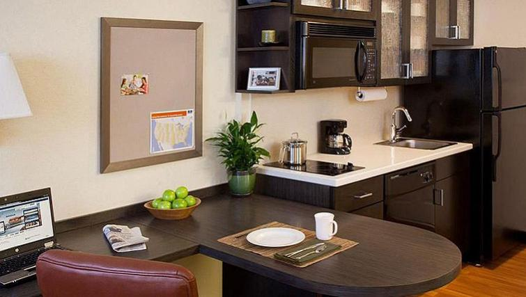Fully equipped kitchen in Candlewood Suites Boston Braintree