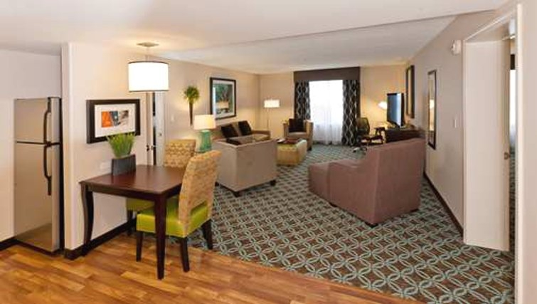 Modest living area in Homewood Suites Boston/Canton