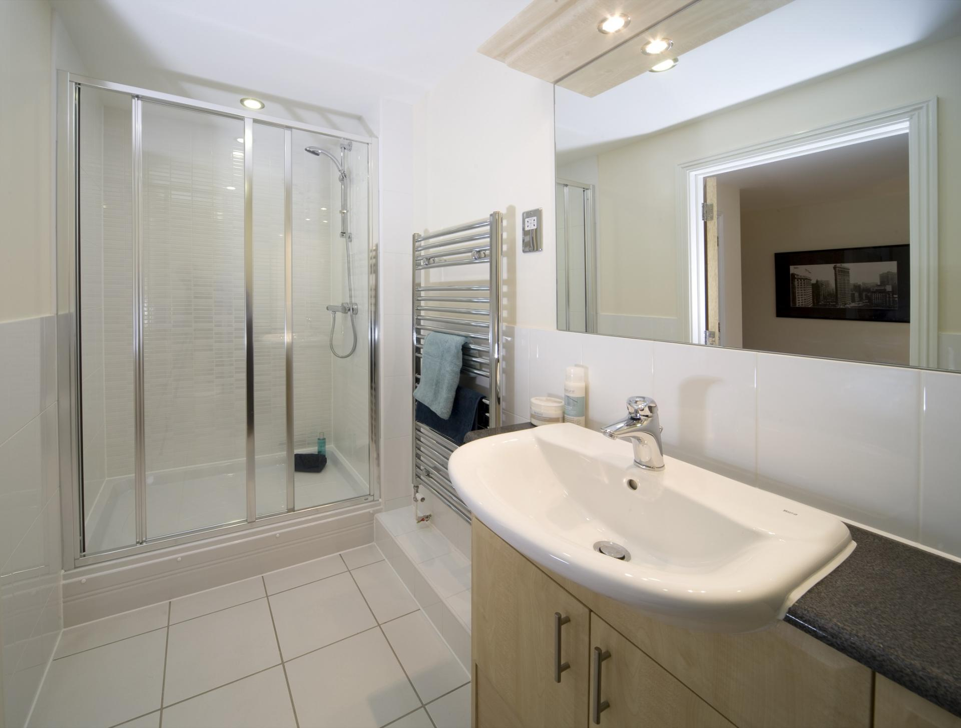 Shower at Cliddesden Place Apartments