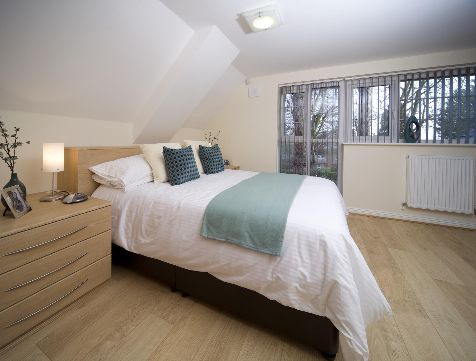 Spacious bed at Cliddesden Place Apartments