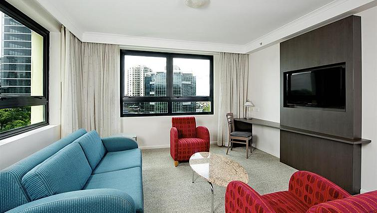 Colourful living area at Mantra Parramatta