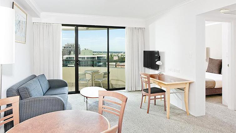 Open-plan living area at Mantra Parramatta