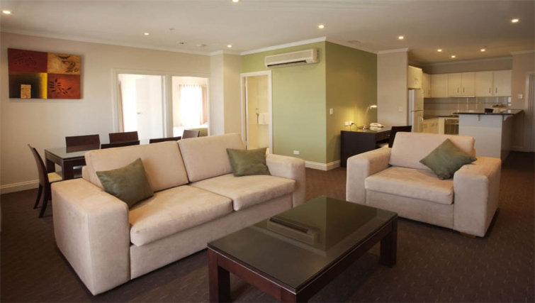 Spacious kitchen and living area at Mantra on Frome