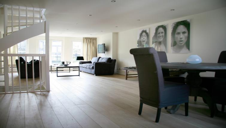 Living/dining area at Canal View Apartments, Amsterdam