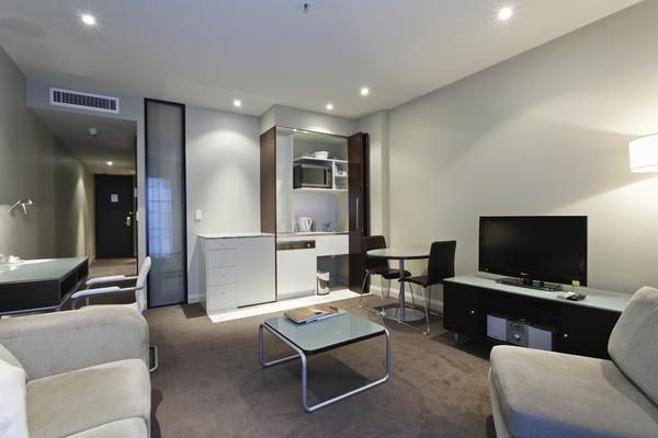 Fresh living area in Mantra Hindmarsh Square