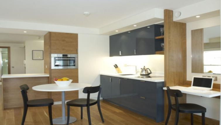 Compact dining area in Turnmill Street Apartments