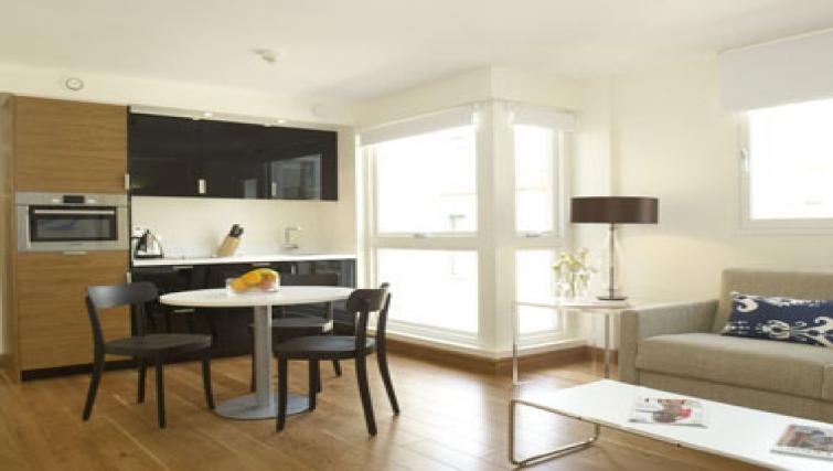 Spacious kitchen in Turnmill Apartments