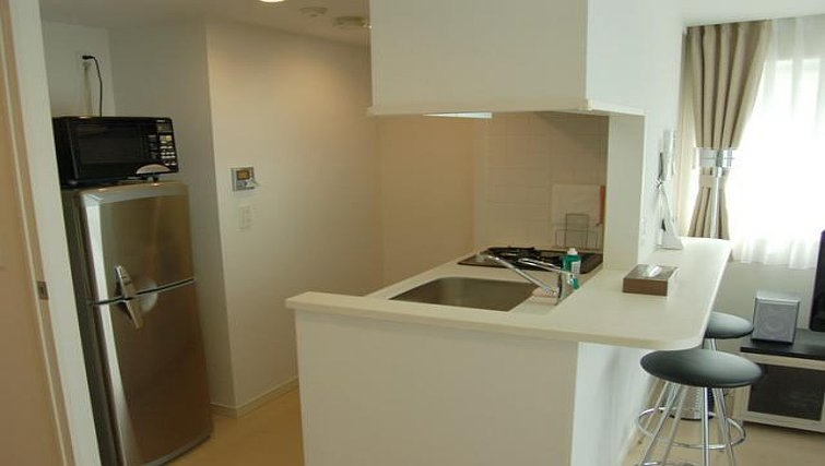 Sleek kitchen at Central Crib Roppongi II Apartments