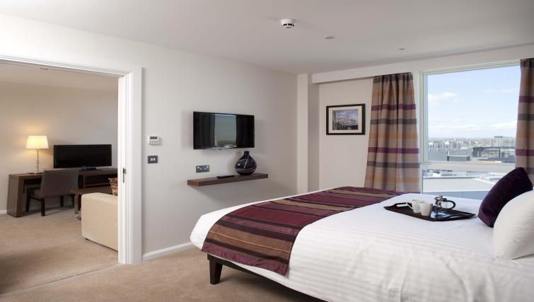 Stylish bedroom in Staybridge Suites London Stratford City