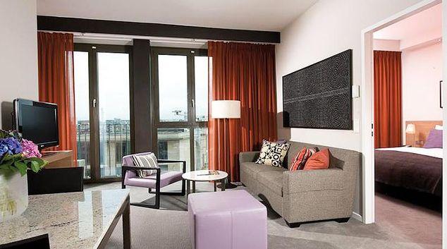 Colourful living area at Adina Apartment Hotel Frankfurt Neue Oper