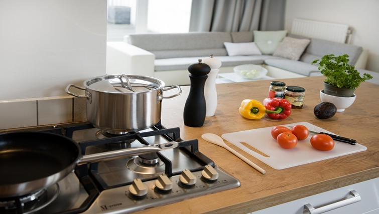 Fully equipped kitchen at Rooftop Suites
