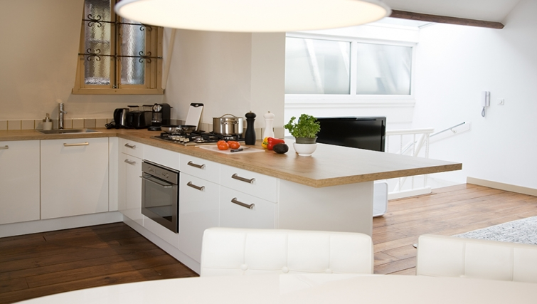 Bright kitchen at Rooftop Suites