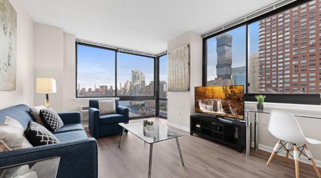 Living area at Monaco Apartments, Centre, Jersey City