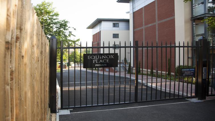 Secure gates at Equinox Place
