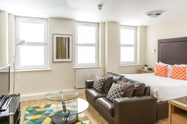 Bright bedroom at Central House