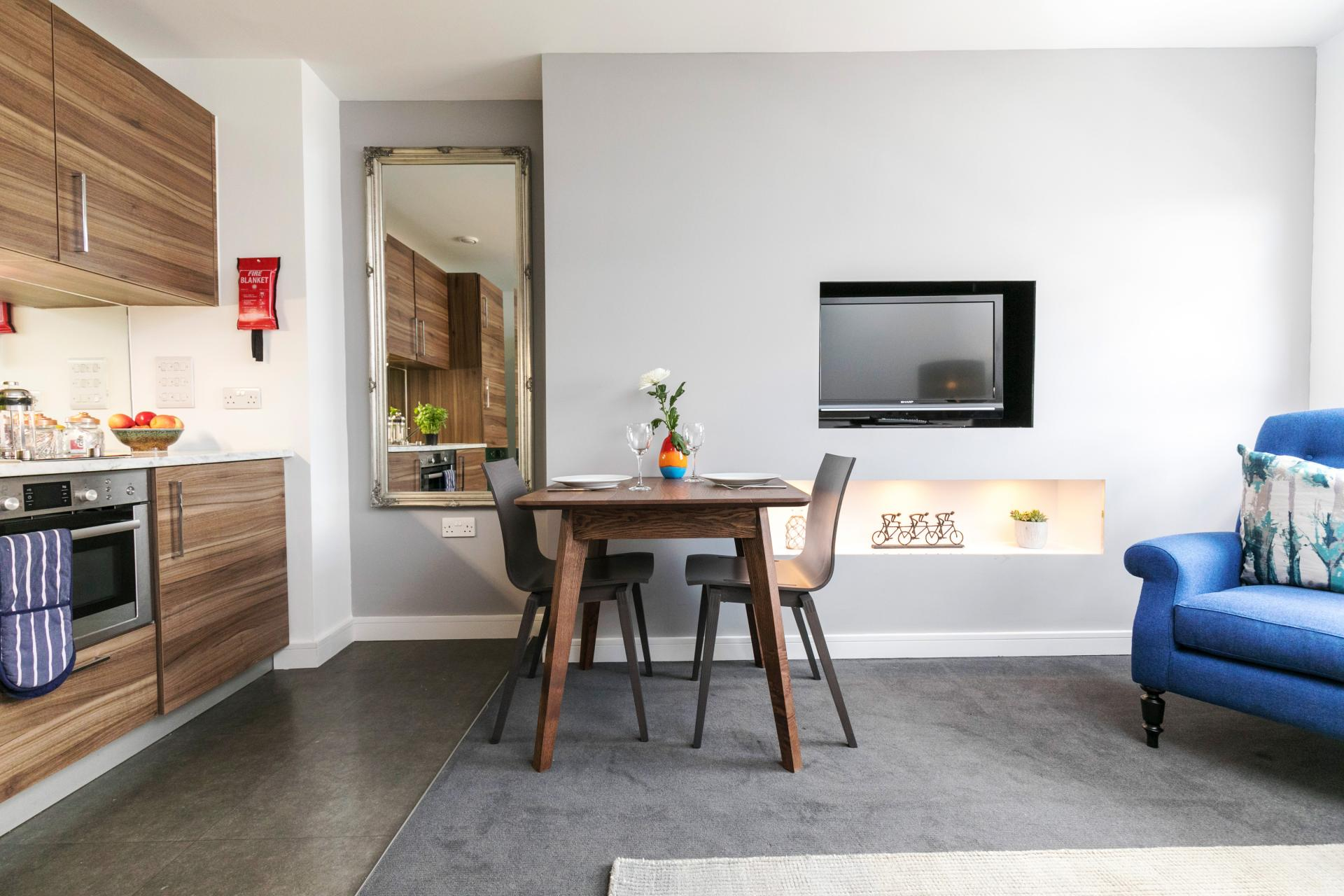 Kitchen diner at Native Hyde Park Apartments, Hyde Park, London