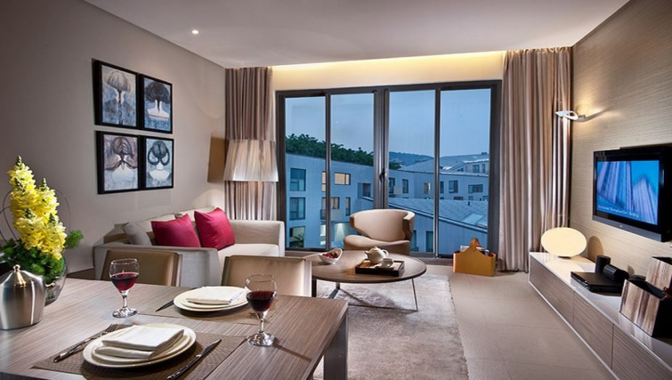 Amazing living area in Ascott Maillen Apartments