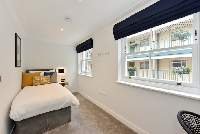 Bright bedroom at 42 James Street Apartments, Marylebone, London