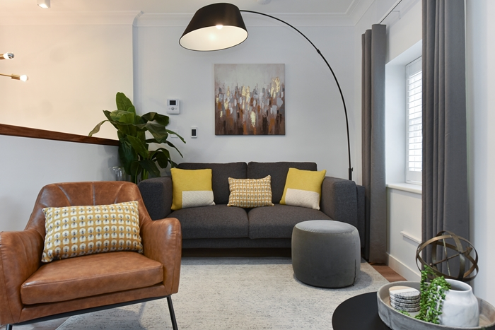 Living area at 42 James Street Apartments, Marylebone, London