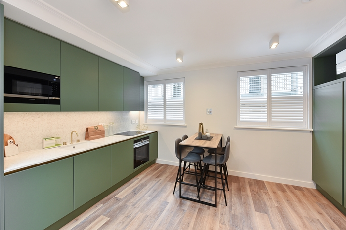Kitchen diner at 42 James Street Apartments, Marylebone, London