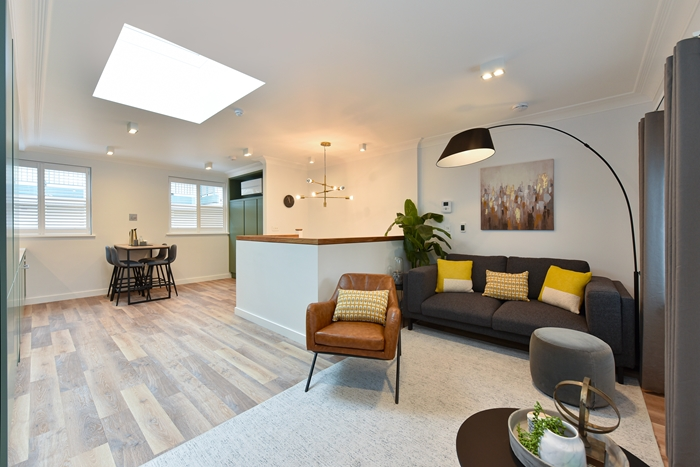 Spacious living area at 42 James Street Apartments, Marylebone, London