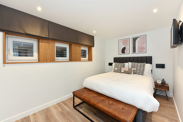 Stylish bedroom at 42 James Street Apartments, Marylebone, London