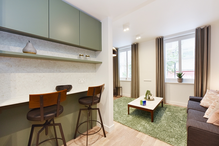Breakfast bar at 42 James Street Apartments, Marylebone, London