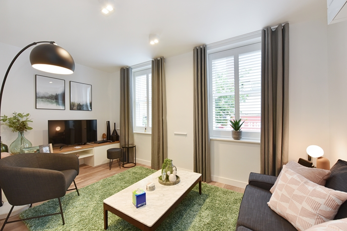 Stylish living room at 42 James Street Apartments, Marylebone, London