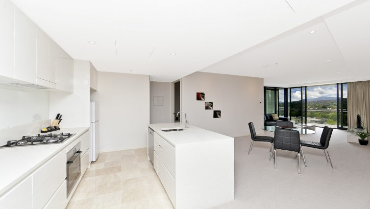 Grand kitchen and living area at Astra Apartments Canberra Manhattan