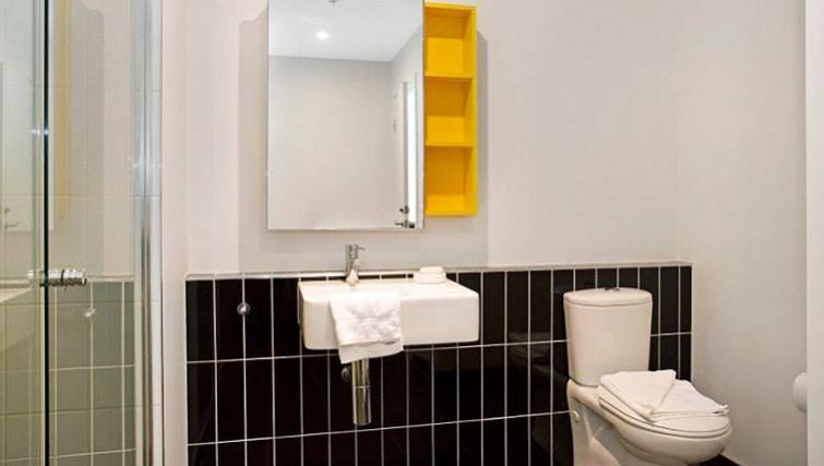 Pristine bathroom in Astra Apartments Docklands Melbourne