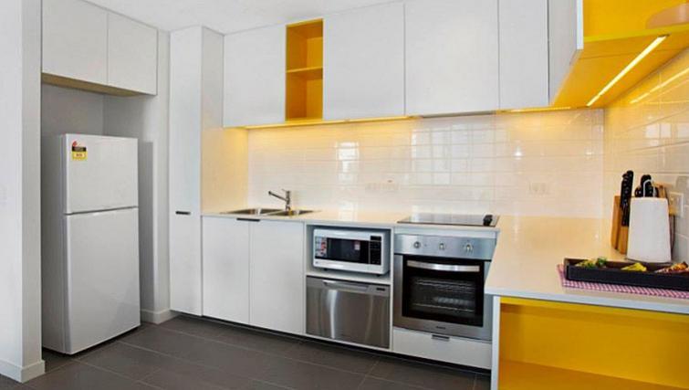 Unique kitchen in Astra Apartments Docklands Melbourne