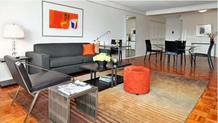 Stylish living area in Towers at Longfellow Apartments