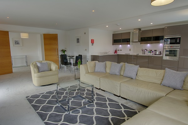 Living room at The Residence Apartments