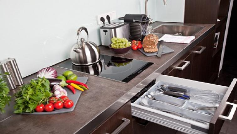 Equipped kitchen in Goodmans Living Apartments