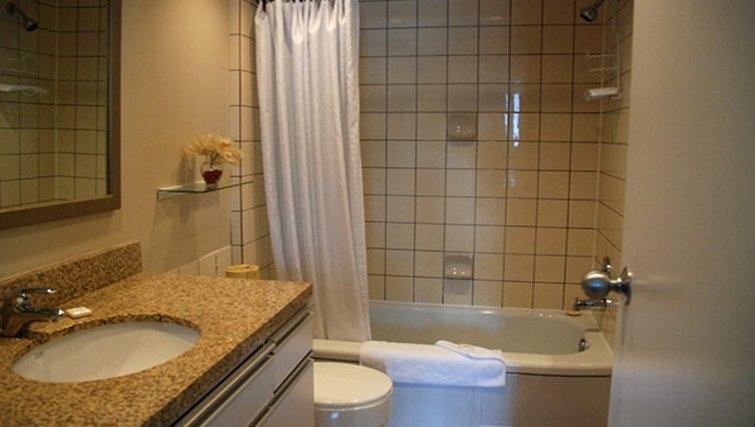 Practical bathroom in Rosellen Suites at Stanley Park