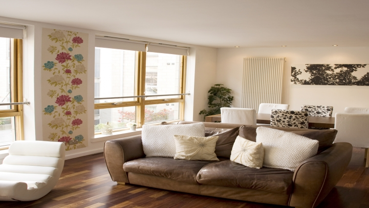 Living area at Exchange Apartments