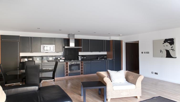 Open-plan kitchen at Exchange Apartments