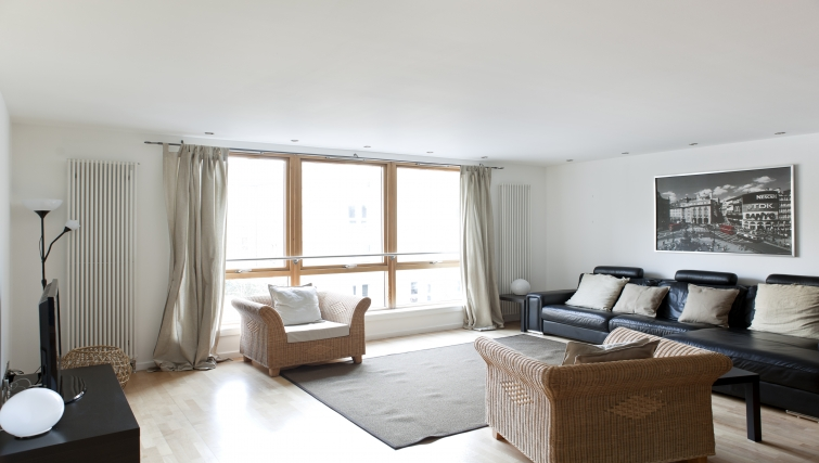 Spacious living area at Exchange Apartments