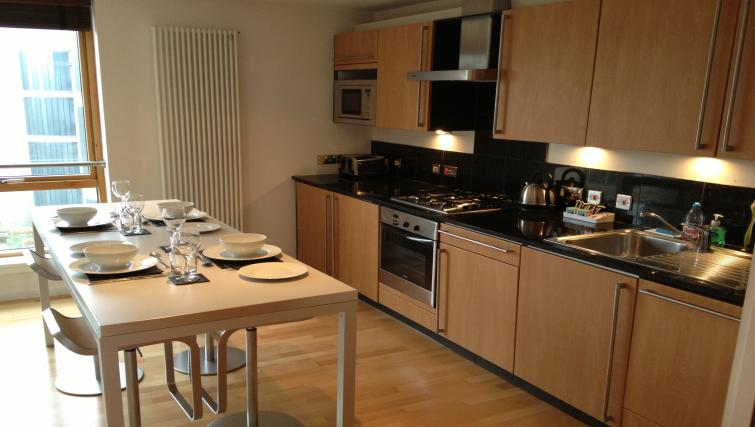 Kitchen/dining area at Exchange Apartments