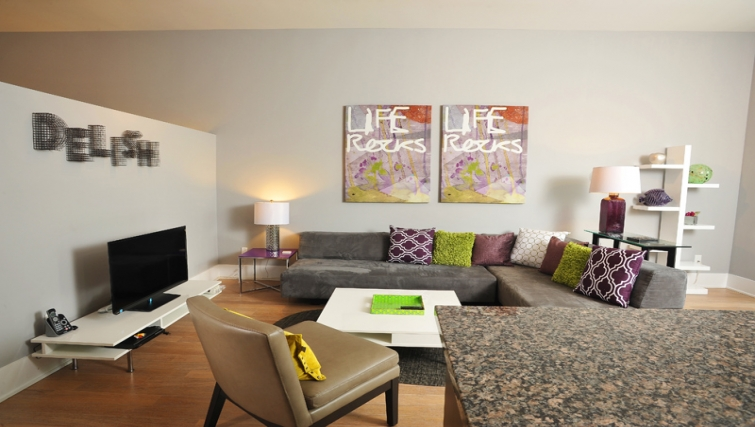Tasteful living area in 120 Homewood Apartments