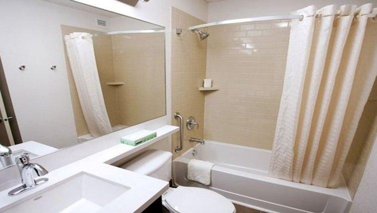 Modern bathroom in Candlewood Suites Houston-Westchase