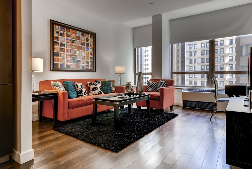 Living room at 95 Wall Apartments, Financial District, Manhattan