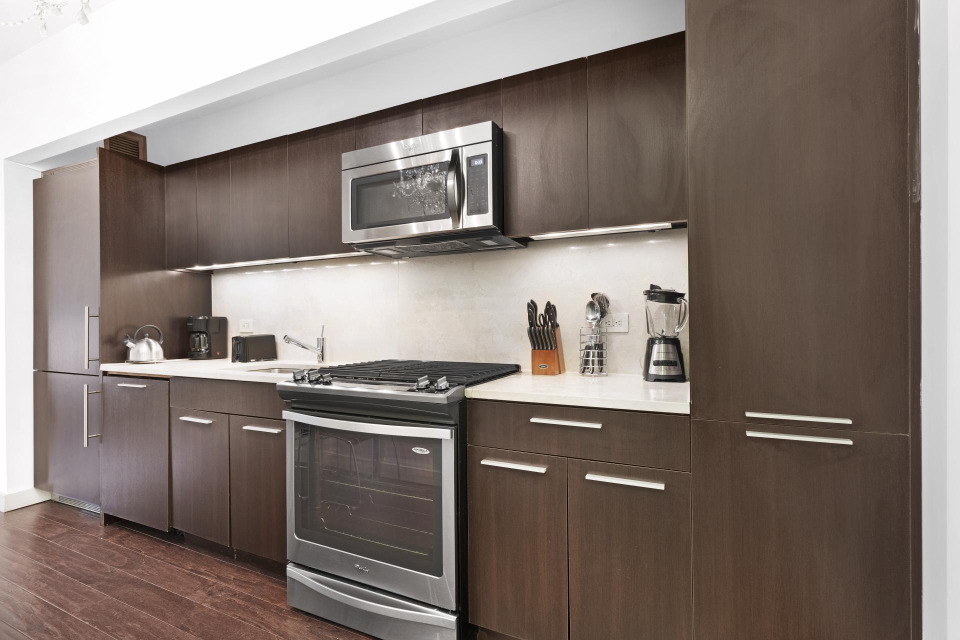 Kitchen at 95 Wall Apartments, Financial District, Manhattan