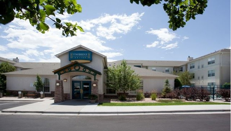 Welcoming exterior of Staybridge Suites Denver CO Tech