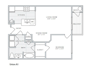 Floor plan 1 at AVE Union Apartments