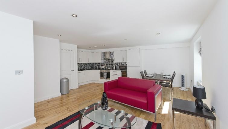 Spacious living area in Native London Bridge Apartments